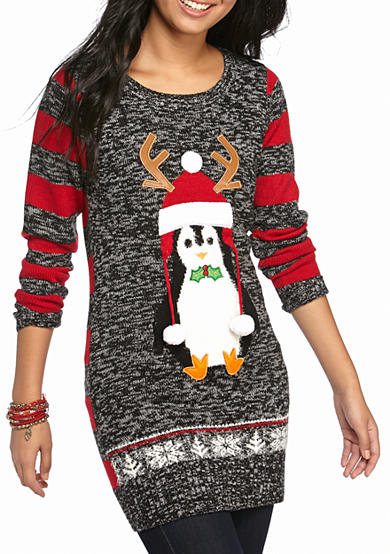 It's Our Time Christmas Penguin Tunic Sweater