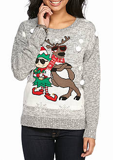 It's Our Time Christmas Elf/ Reindeer Tunic Sweater
