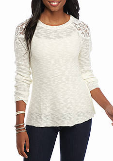 It's Our Time Lace Shoulder Sweater