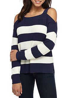 It's Our Time Striped Cold Shoulder Sweater