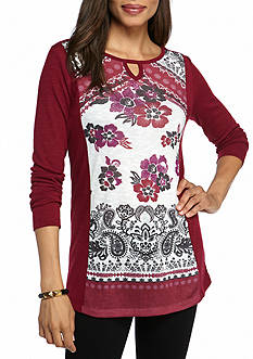 Kim Rogers Long Sleeve Floral Print Hacci Tee