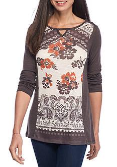 Kim Rogers Long Sleeve Floral Print Hacci Tee
