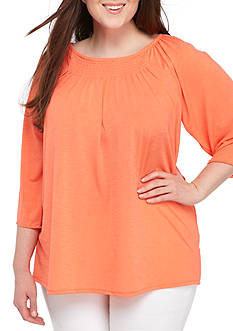 Kim Rogers Plus Size Three-Quarter Sleeve Boat Neck Top
