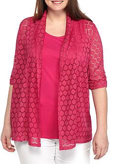 Kim Rogers Plus Size 3/4 2Fer Lace Top