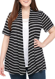 Kim Rogers Plus Size Three-Quarter 2Fer Stripe Top