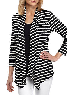 Kim Rogers Three-Quarter Sleeve Stripe 2Fer Top