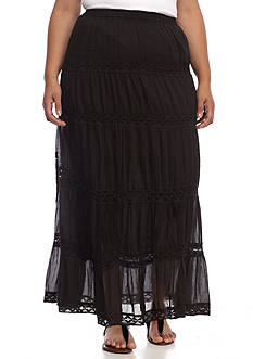 Kim Rogers Plus Size Tiered Voile Crochet Maxi Skirt