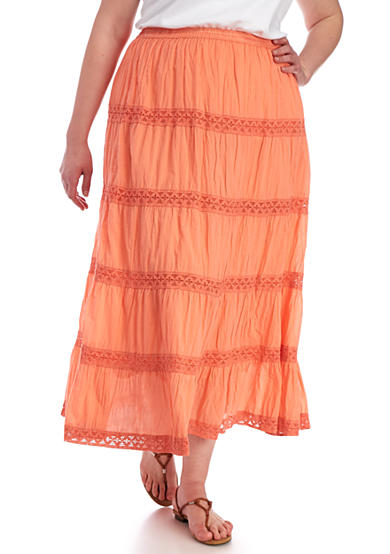 Kim Rogers® Plus Size Tiered Voile Crochet Maxi Skirt