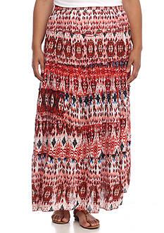 Kim Rogers Plus Size Tiered Crinkle Midi Skirt