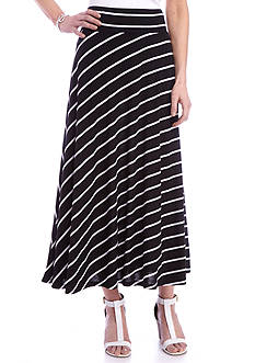 Kim Rogers Long Stripe Knit Skirt