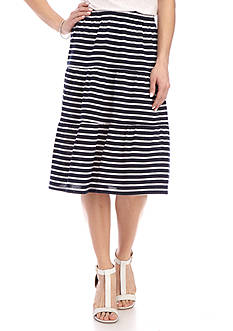 Kim Rogers Striped Tiered Knit Skirt