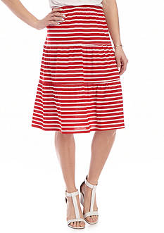Kim Rogers® Striped Tiered Knit Skirt