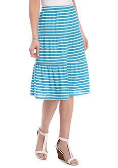 Kim Rogers Stripe Tiered Knit Print Skirt