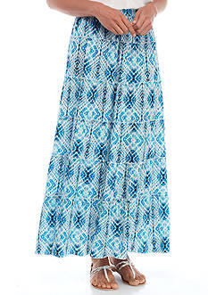 Kim Rogers Printed Diamond Tiered Crinkle Skirt