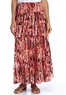 Kim Rogers Printed Tiered Crinkle Skirt