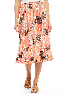 Kim Rogers Printed Patch Crinkle Skirt
