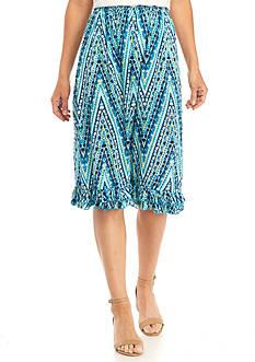 Kim Rogers Printed Crinkle Woven Skirt