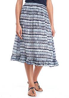 Kim Rogers Printed Ruffle Hem Crinkle Skirt