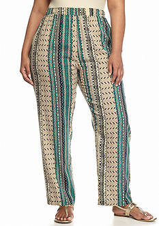 Kim Rogers® Plus Size Linear Geo Soft Pant