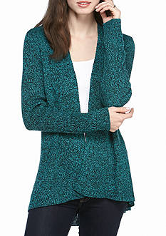 Kim Rogers® Open Front Cardigan Marled with High Low Hem