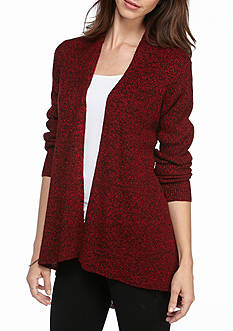 Kim Rogers Open Front Cardigan Marled with High Low Hem
