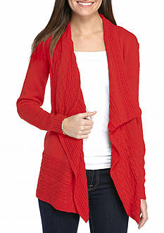 Kim Rogers Solid Open Front Cardigan