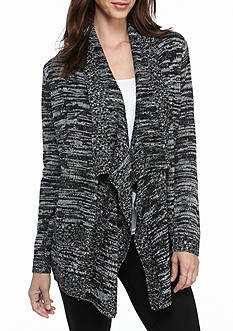Kim Rogers® Open Front Cardigan Marled with Pointelle