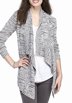 Kim Rogers Open Front Cardigan Marled with Pointelle