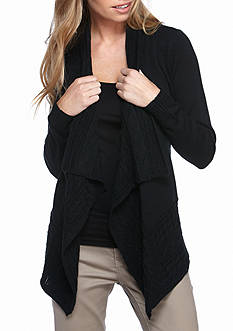 Kim Rogers POINTELLE BORDER FRONT CARDIGAN
