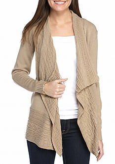 Kim Rogers® Pointelle Border Front Cardigan