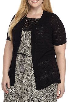 Kim Rogers Plus Size Short Sleeve Open Front Cardigan