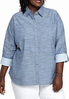 Kim Rogers Plus Size Slub Knit Boyfriend Shirt