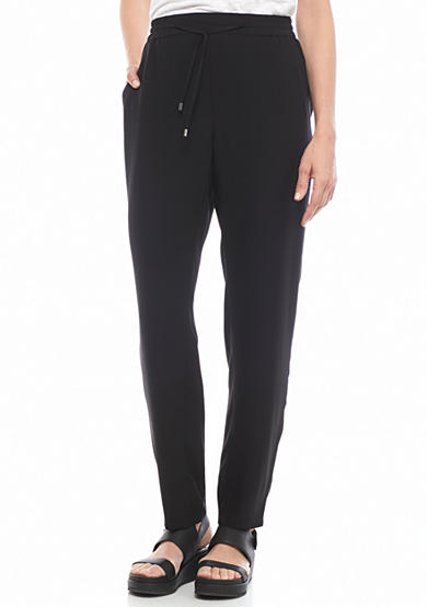 Eileen Fisher Solid Woven Ankle Pants