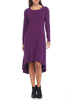 Eileen Fisher Ballet Neck Solid Knit Dress