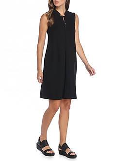 Eileen Fisher Mandarin Collar Solid Dress