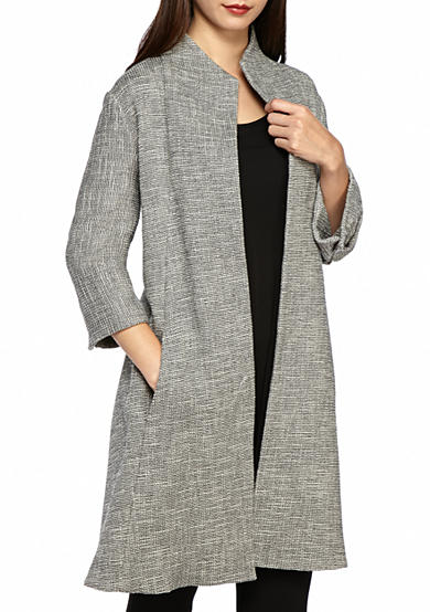 Eileen Fisher High Collar Textured Long Jacket
