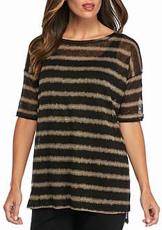 Eileen Fisher Linen Stripe Short Sleeve Top
