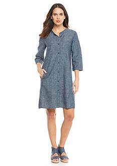 Eileen Fisher Mandarin Collar Chambray Dress