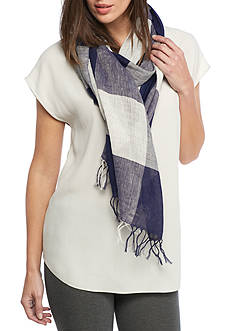 Eileen Fisher Handloomed Organic Cotton Linen Checked Scarf