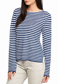 Eileen Fisher Striped Boat Neck Top