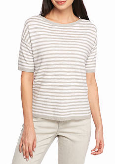 Eileen Fisher Striped Boxy Short Sleeve Top