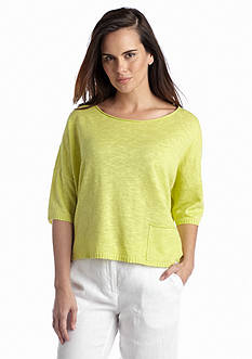 Eileen Fisher Boat Neck Three-Quarter Sleeve Boxy Sweater