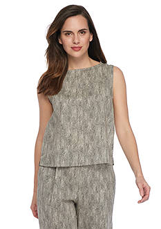Eileen Fisher Round Neck Woven Shell