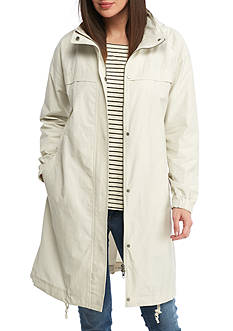 Eileen Fisher Light Organic Coton Nylon Stand COllar Long Jacket