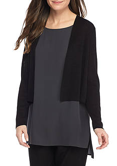 Eileen Fisher Fine Organic Linen Crepe Knit Cropped Cardigan