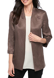 Eileen Fisher Organic Linen Silk Satin Long Jacket