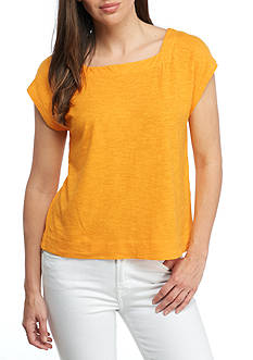 Eileen Fisher Organic Cotton Hemp Square Neck Cropped Top