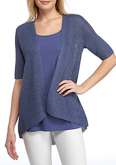 Eileen Fisher Open Front Elbow Sleeve Cardigan