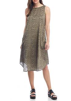 Eileen Fisher Mosaic Printed Silk And Organic Cotton Dress