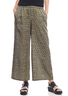 Eileen Fisher Mosaic Printed Silk and Organic Cotton Cropped Pants